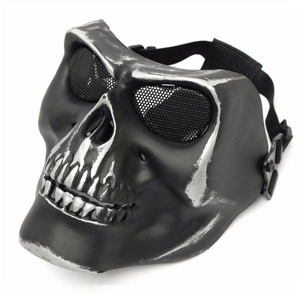 Máscara Caveira Preta Cromo